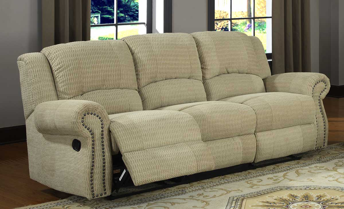 Homelegance quinn double reclining sofa olive beige for Beige chenille sectional sofa