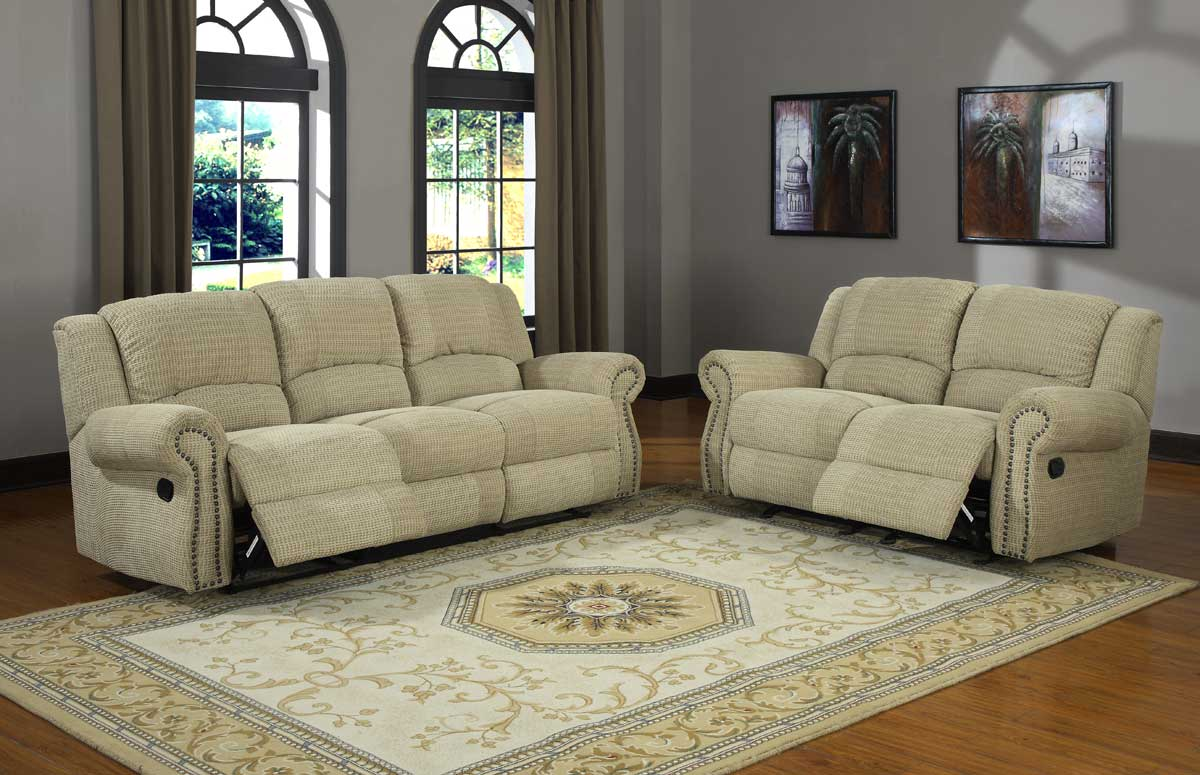 Homelegance quinn reclining sofa set olive beige for Couch sofa set