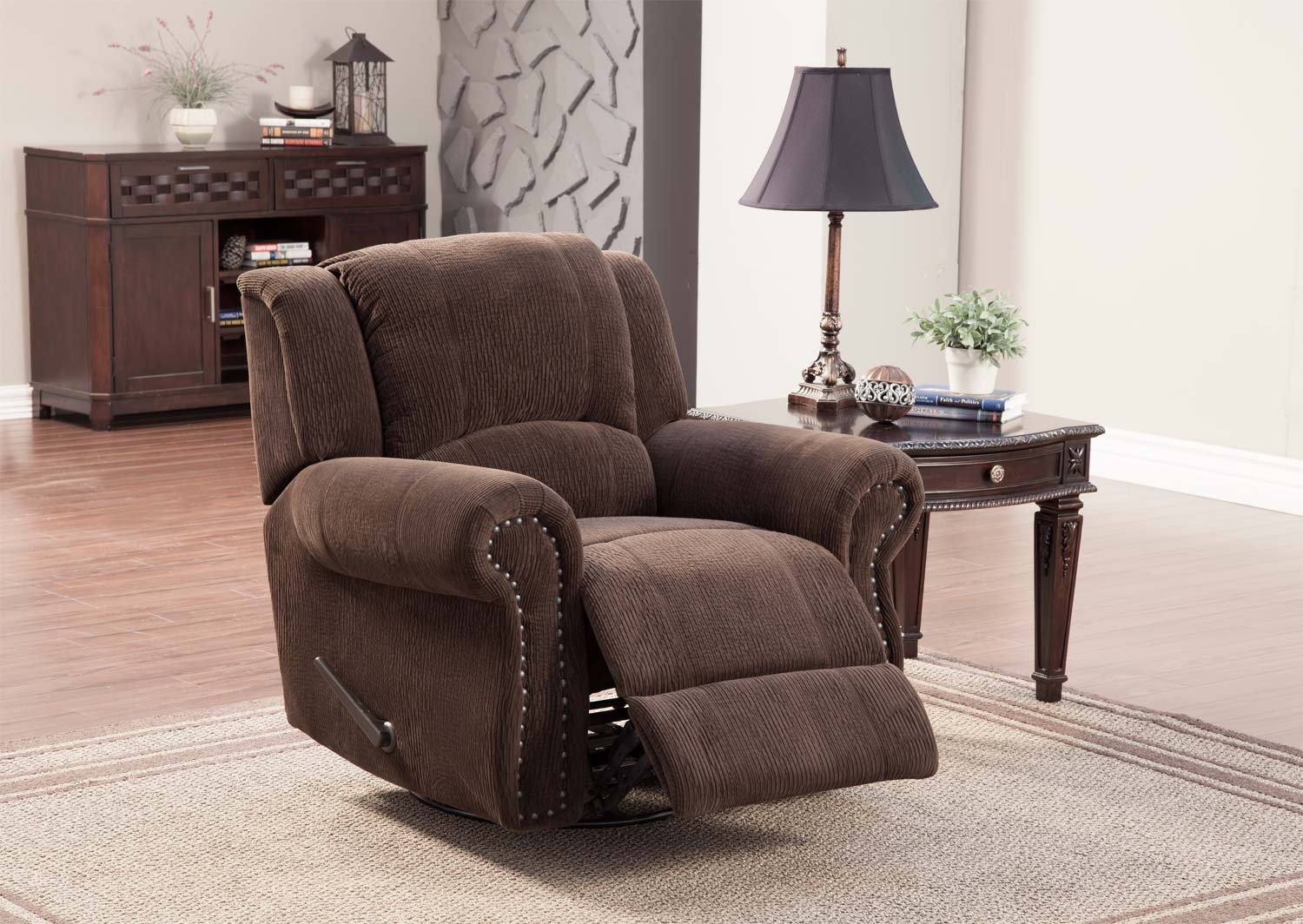 homelegance quinn swivel rocker recliner chair chocolate
