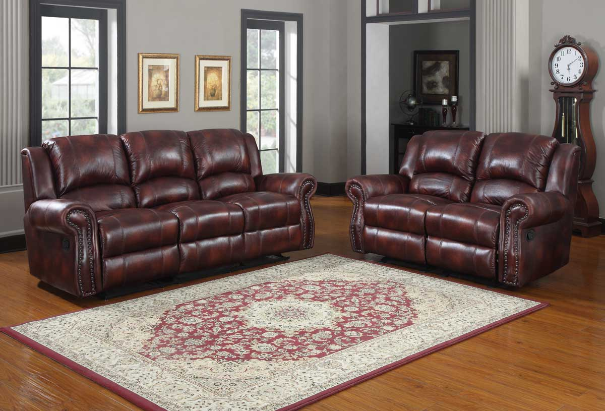 Elegant Homelegance Quinn Reclining Sofa Set   Burgundy Polished Microfiber Part 21