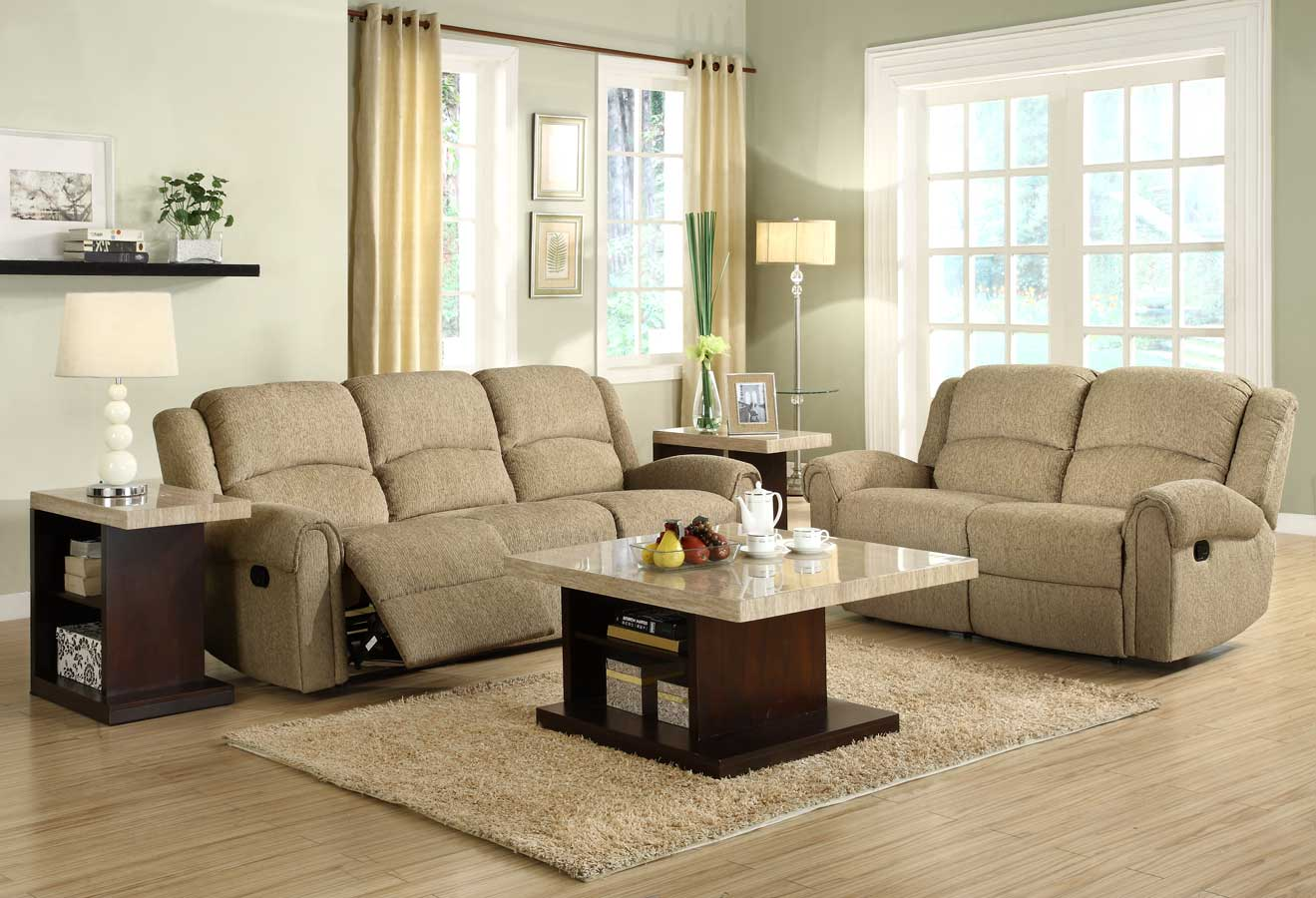 Homelegance Esther Reclining Sofa Set   Beige Chenille