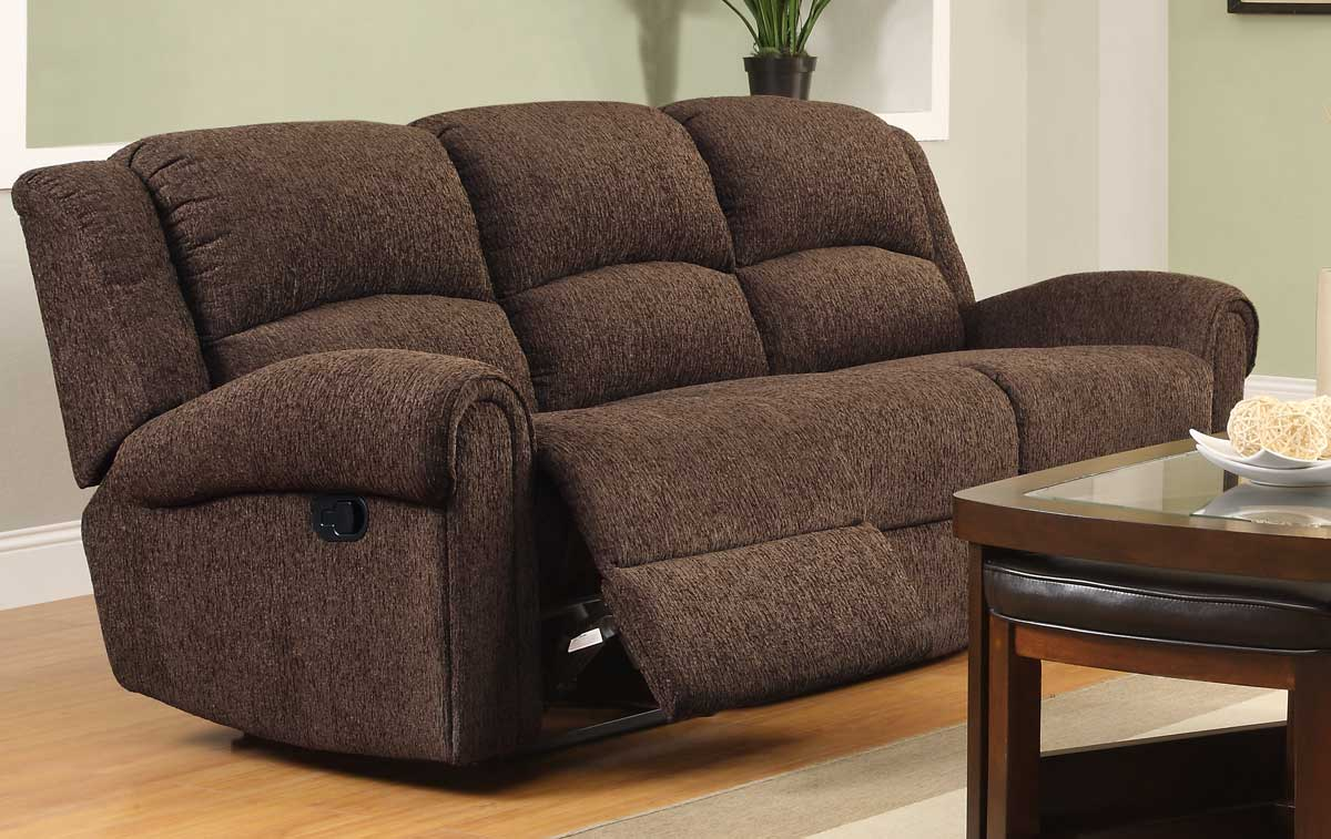 Homelegance esther reclining sofa set dark brown chenille u9712db 3 Chenille sofa and loveseat