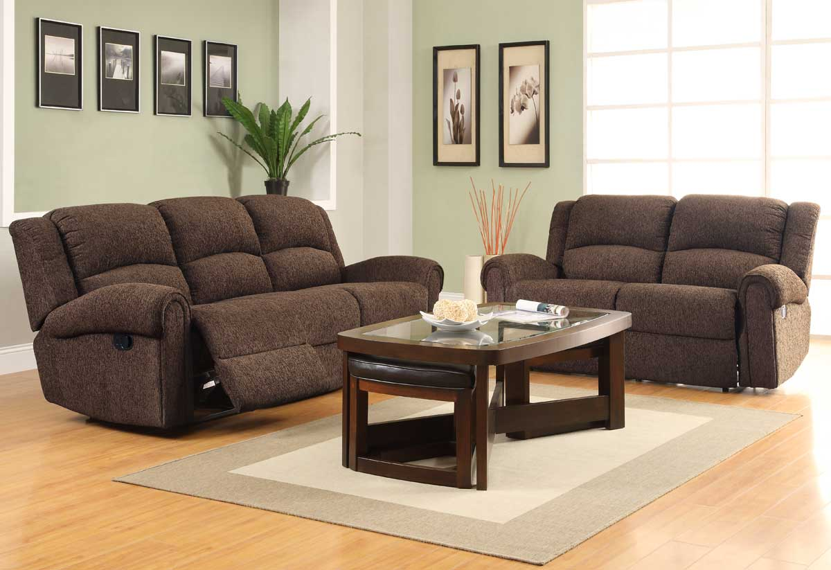 Homelegance esther reclining sofa set dark brown for Couch sofa set