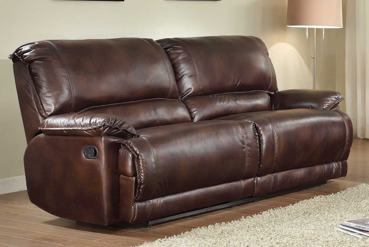 Homelegance elsie double reclining sofa dark brown for Sectional sofa with double recliner