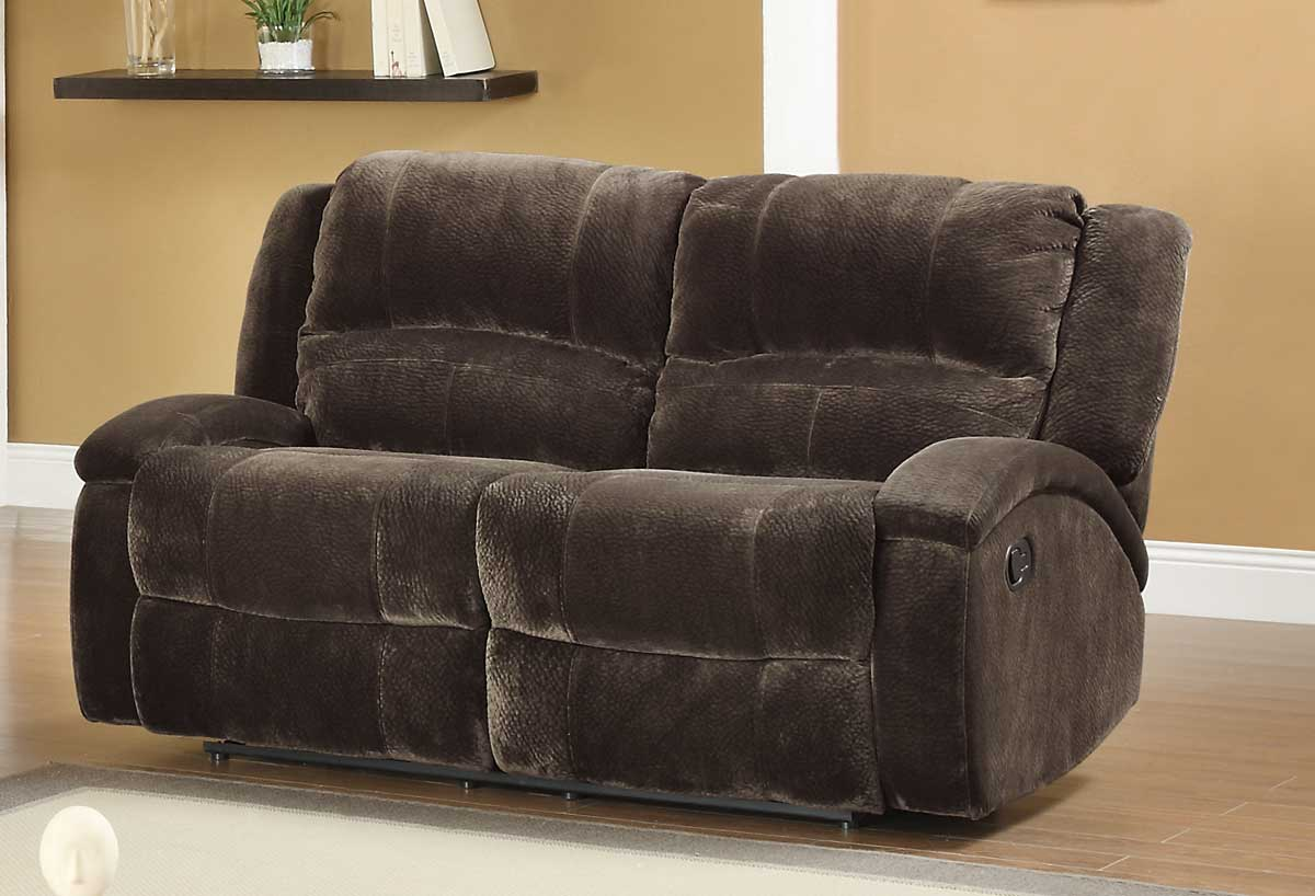 Homelegance alejandro reclining sofa set chocolate textured microfiber u9714 3 Brown microfiber couch and loveseat