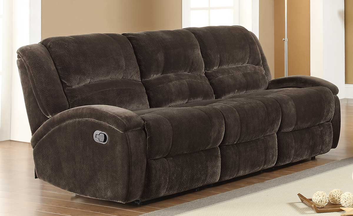Alejandro Double Reclining Sofa   Chocolate Textured Microfiber