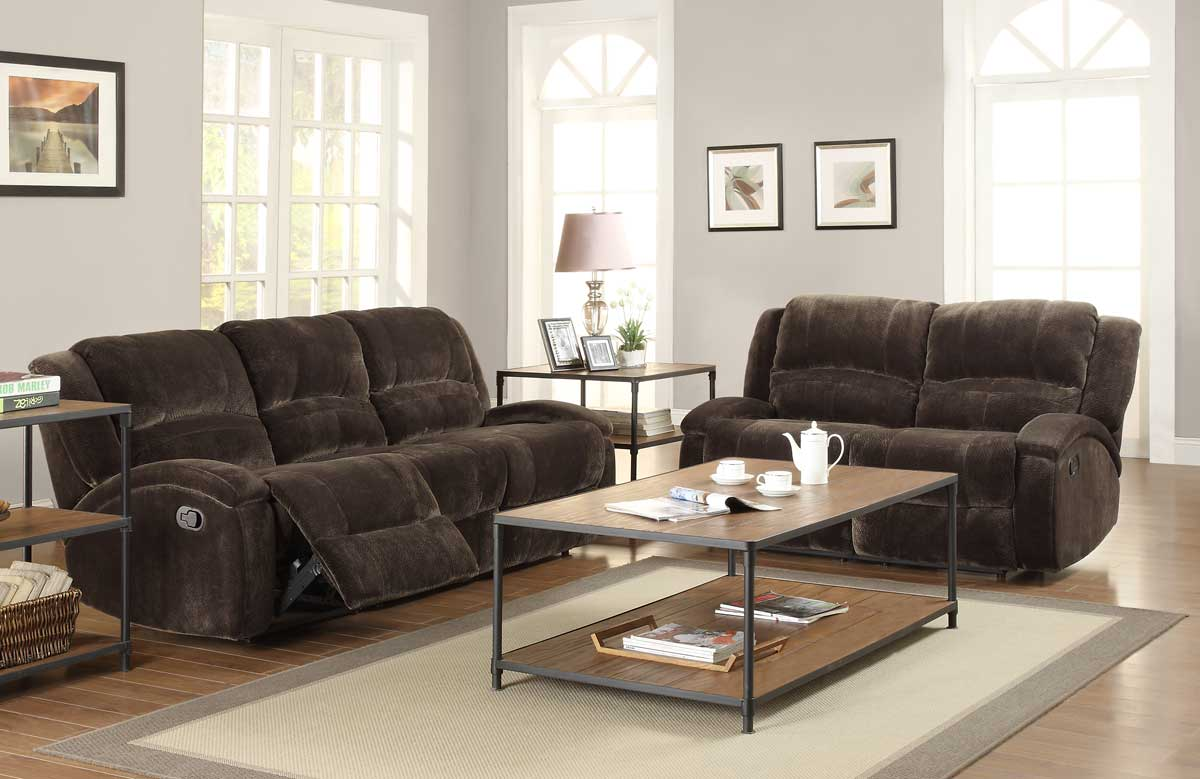 homelegance alejandro reclining sofa set chocolate textured microfiber u9714 3. Black Bedroom Furniture Sets. Home Design Ideas