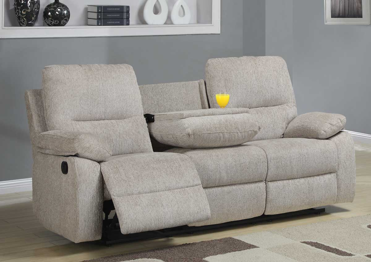 Merveilleux Homelegance Marianna Double Reclining Sofa With Center Drop Down Cup Holders    Beige Chenille