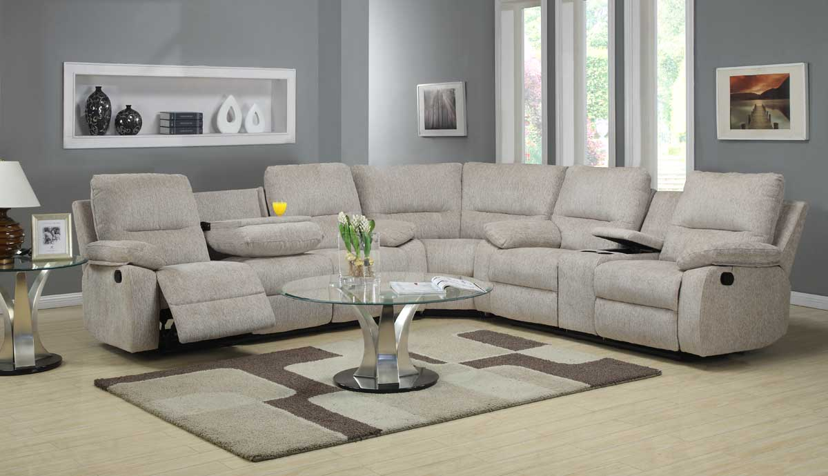 Homelegance marianna modular reclining sectional sofa set for Beige chenille sectional sofa