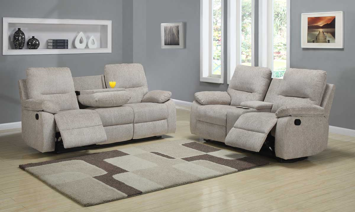 Homelegance marianna reclining sofa set beige chenille for Couch sofa set