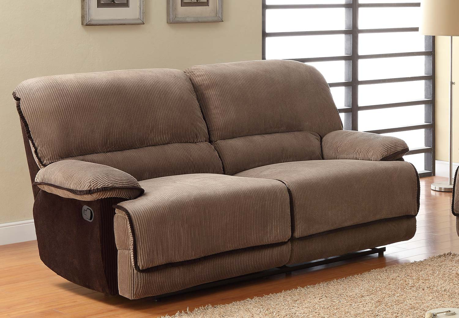 Homelegance grantham sofa dual recliner brown corduroy 9717 3 Cover for loveseat