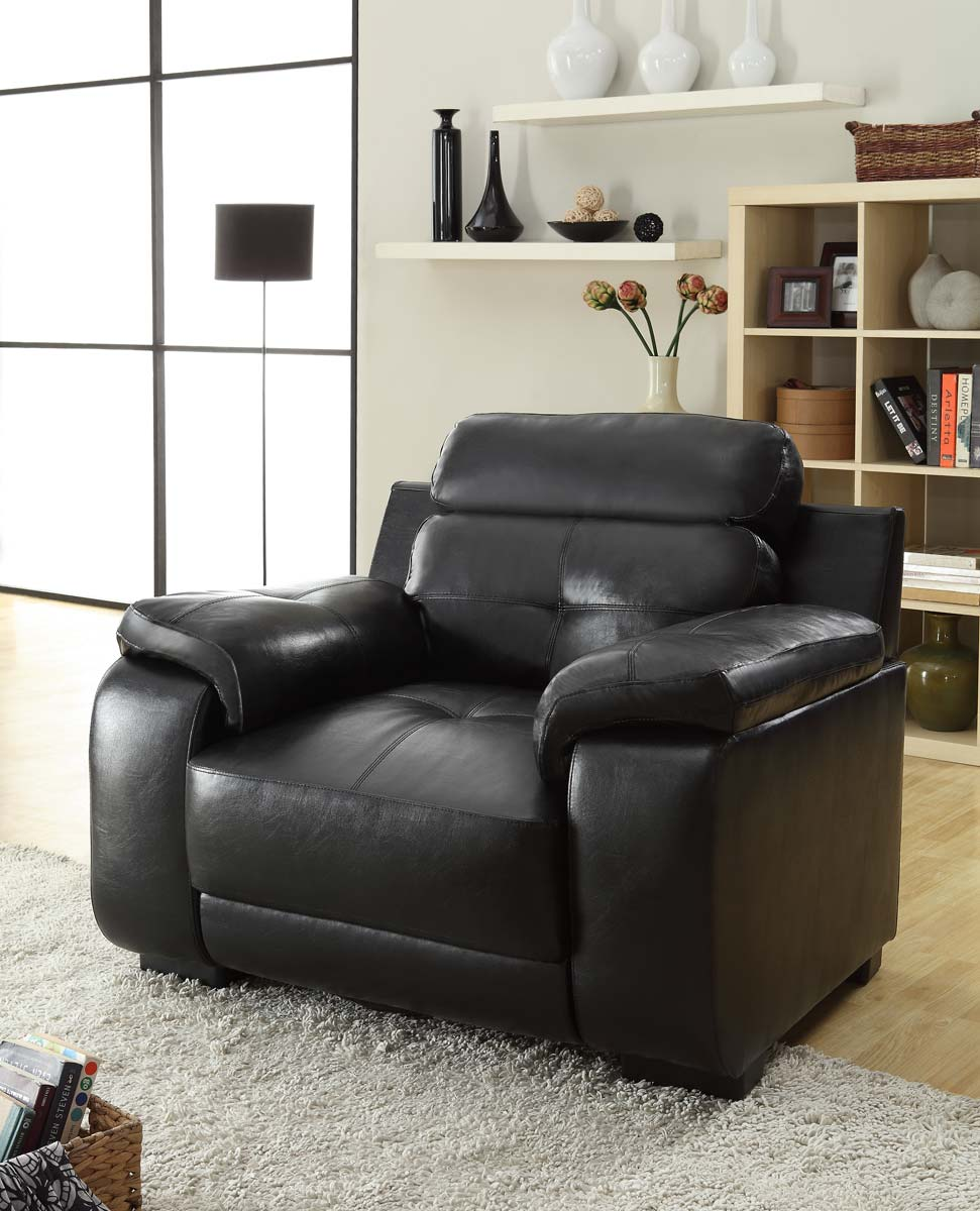 Homelegance Zane Chair - Black - All Bonded Leather
