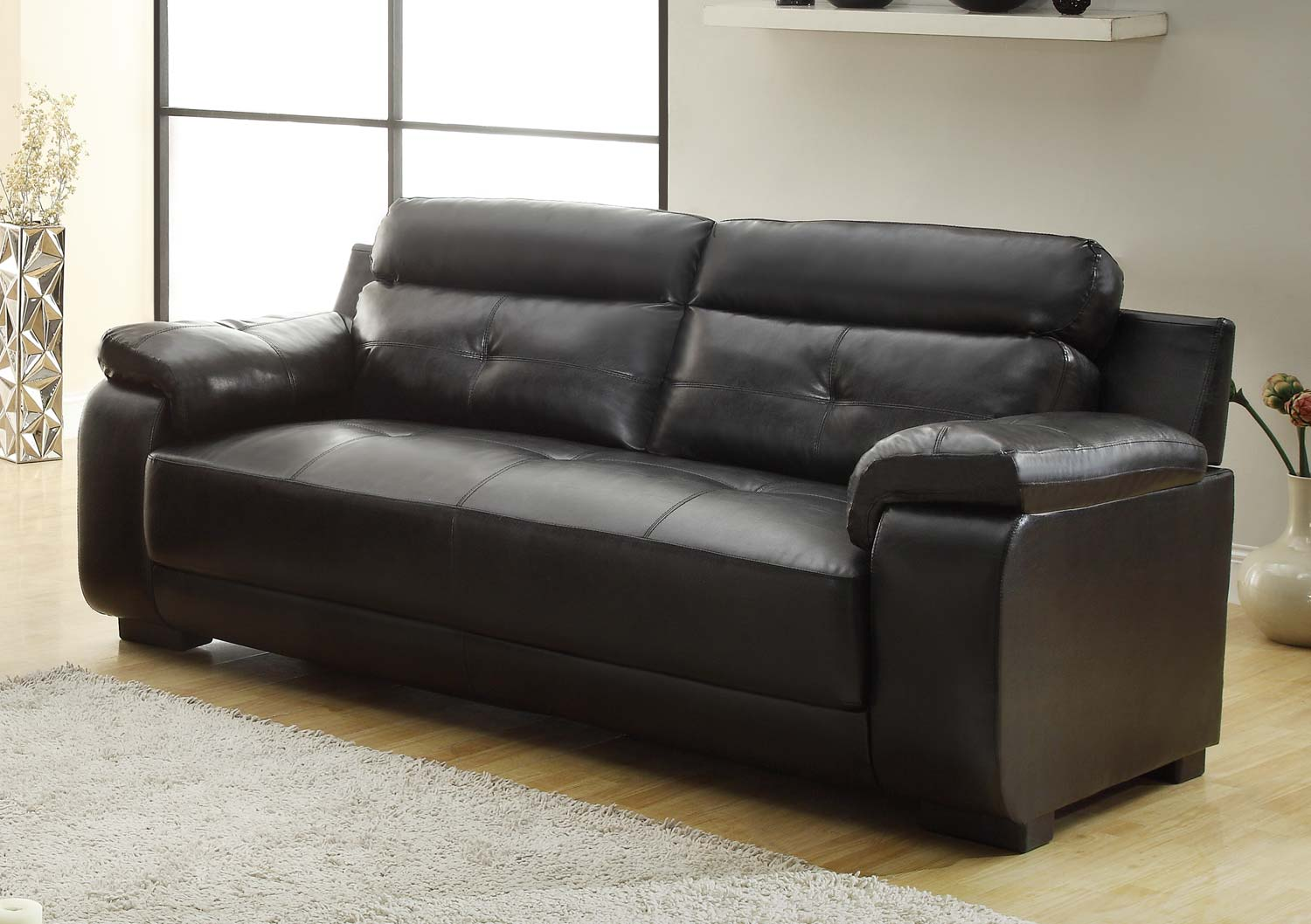 Homelegance Zane Sofa - Black - All Bonded Leather