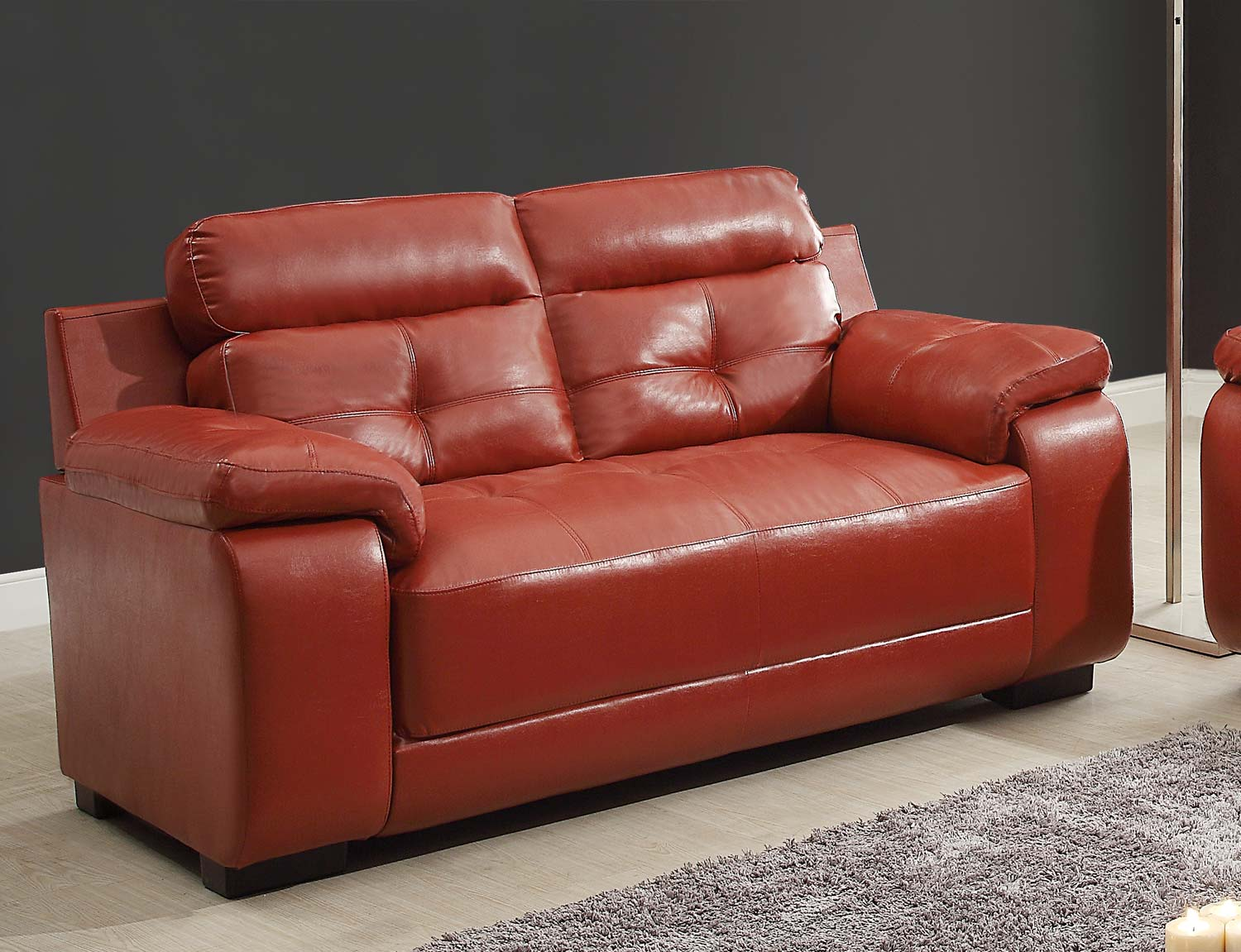Homelegance Zane Love Seat - Red - All Bonded Leather
