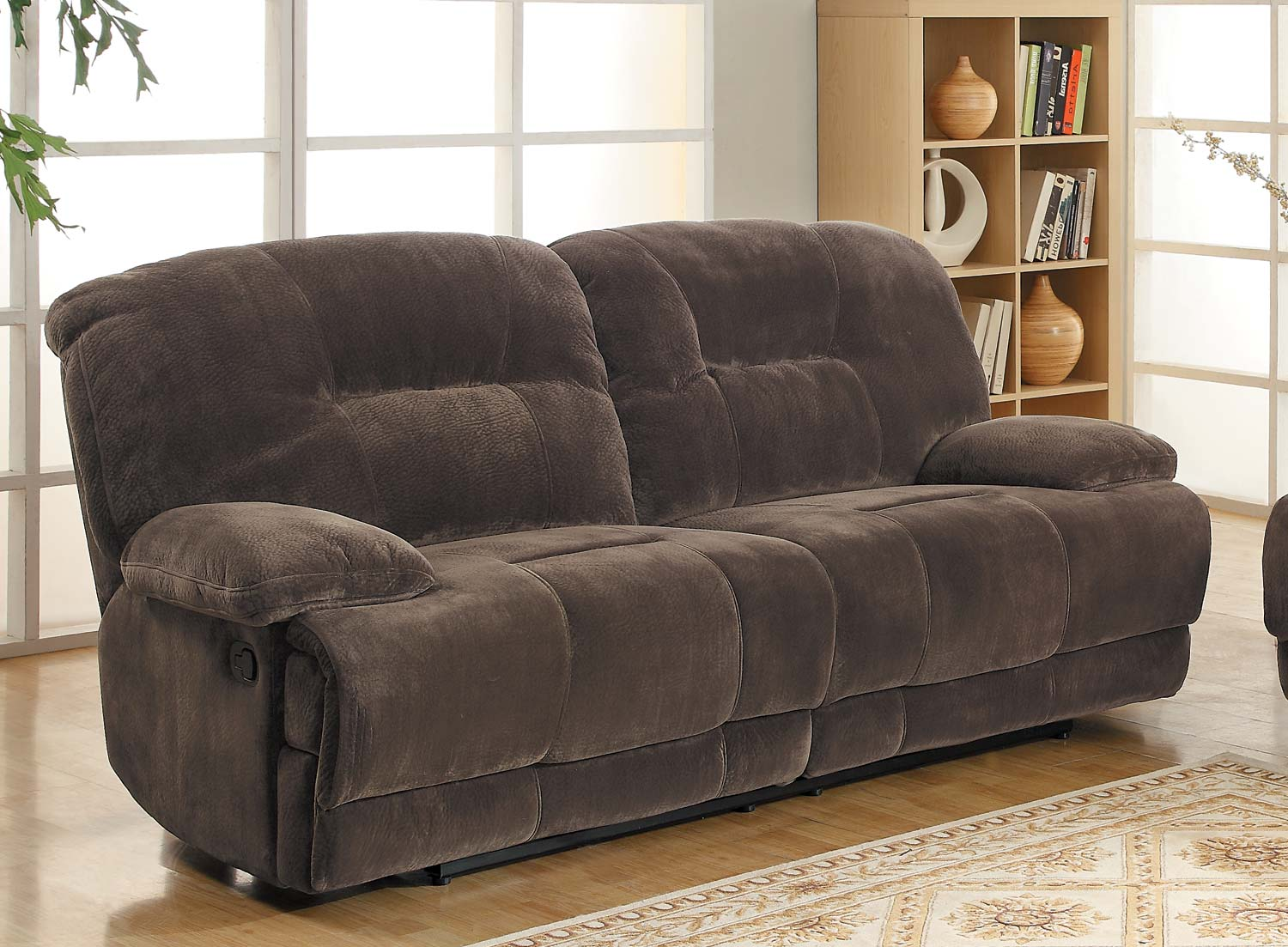 Homelegance Geoffrey Sofa Dual Recliner - Chocolate - Textured Plush Microfiber & Homelegance Geoffrey Sofa Dual Recliner - Chocolate - Textured ... islam-shia.org