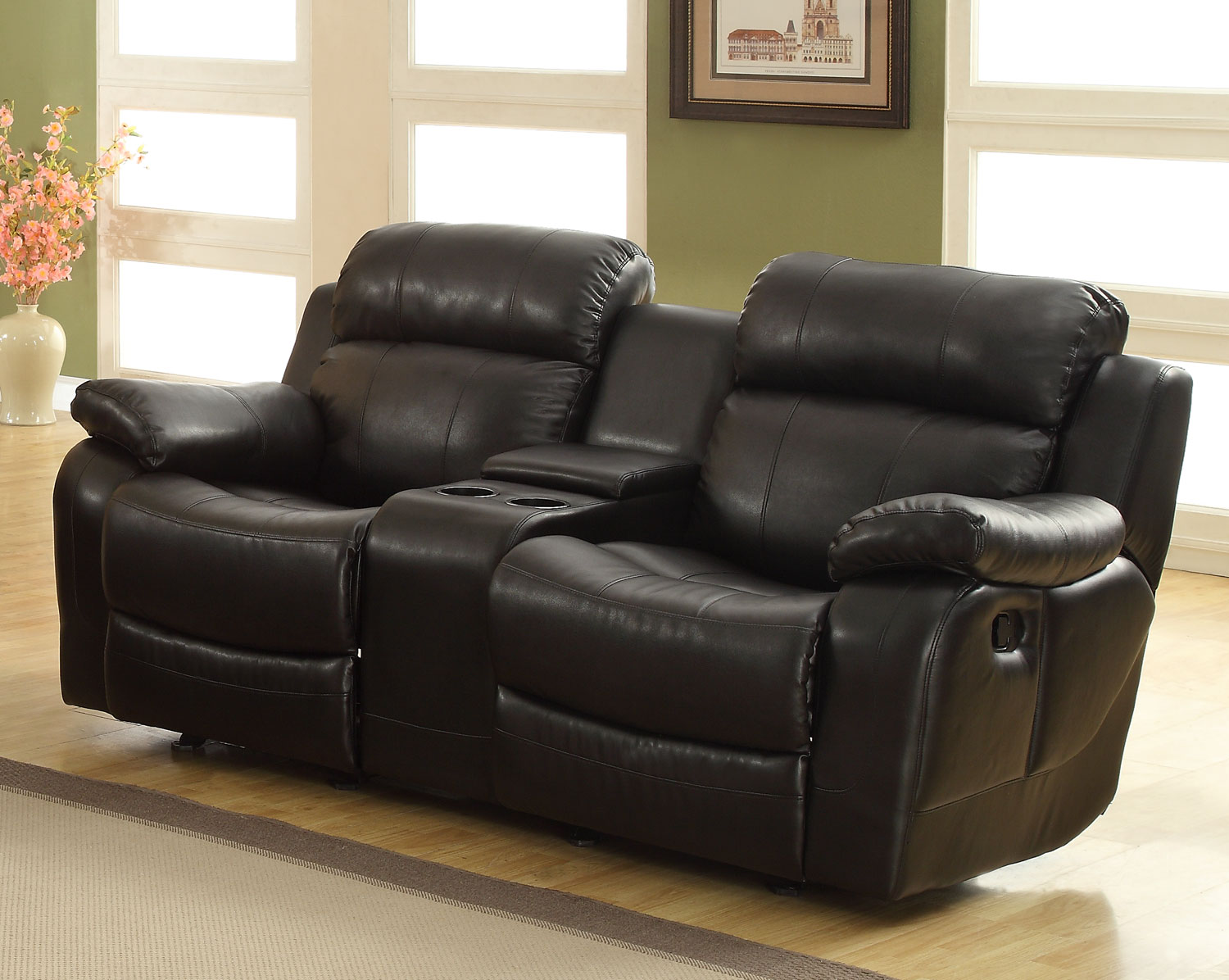 Homelegance marille love seat glider recliner with center console black bonded leather match Leather loveseat recliners