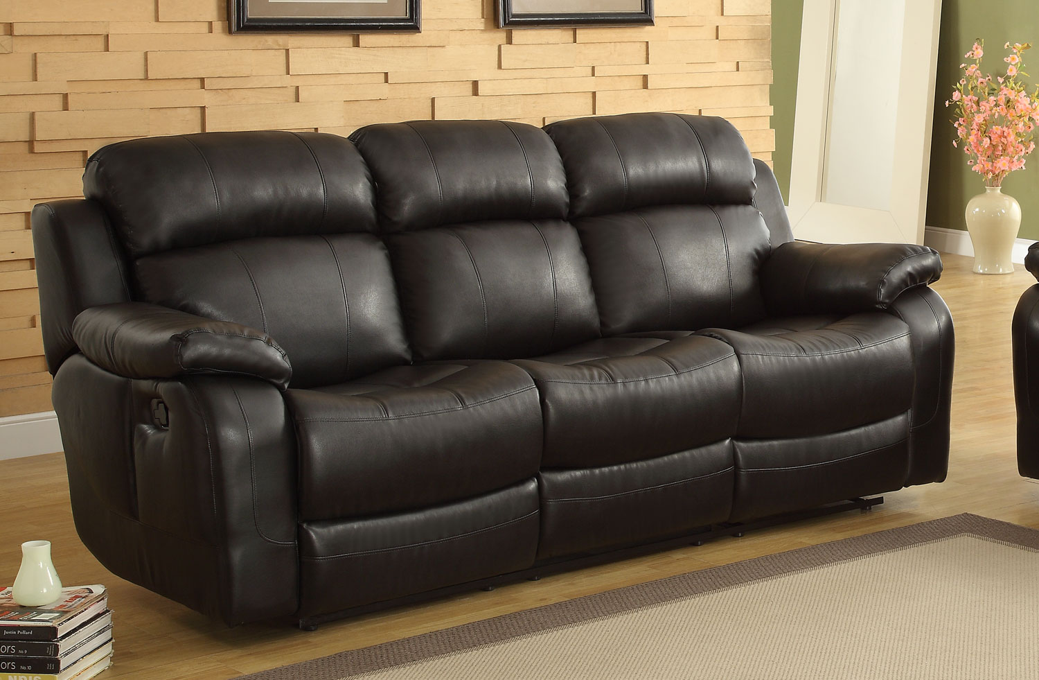 Homelegance Marille Recliner Sofa With Drop Center Cup Holder Black Bonded Leather Match