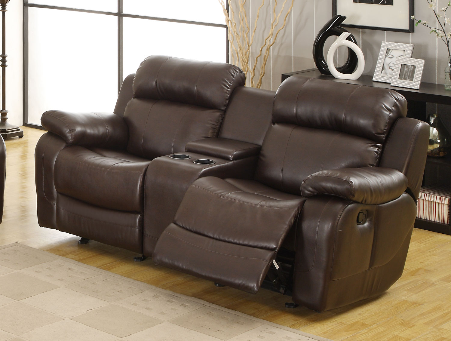 Homelegance Marille Love Seat Glider Recliner with Center Console - Dark Brown - Bonded Leather Match