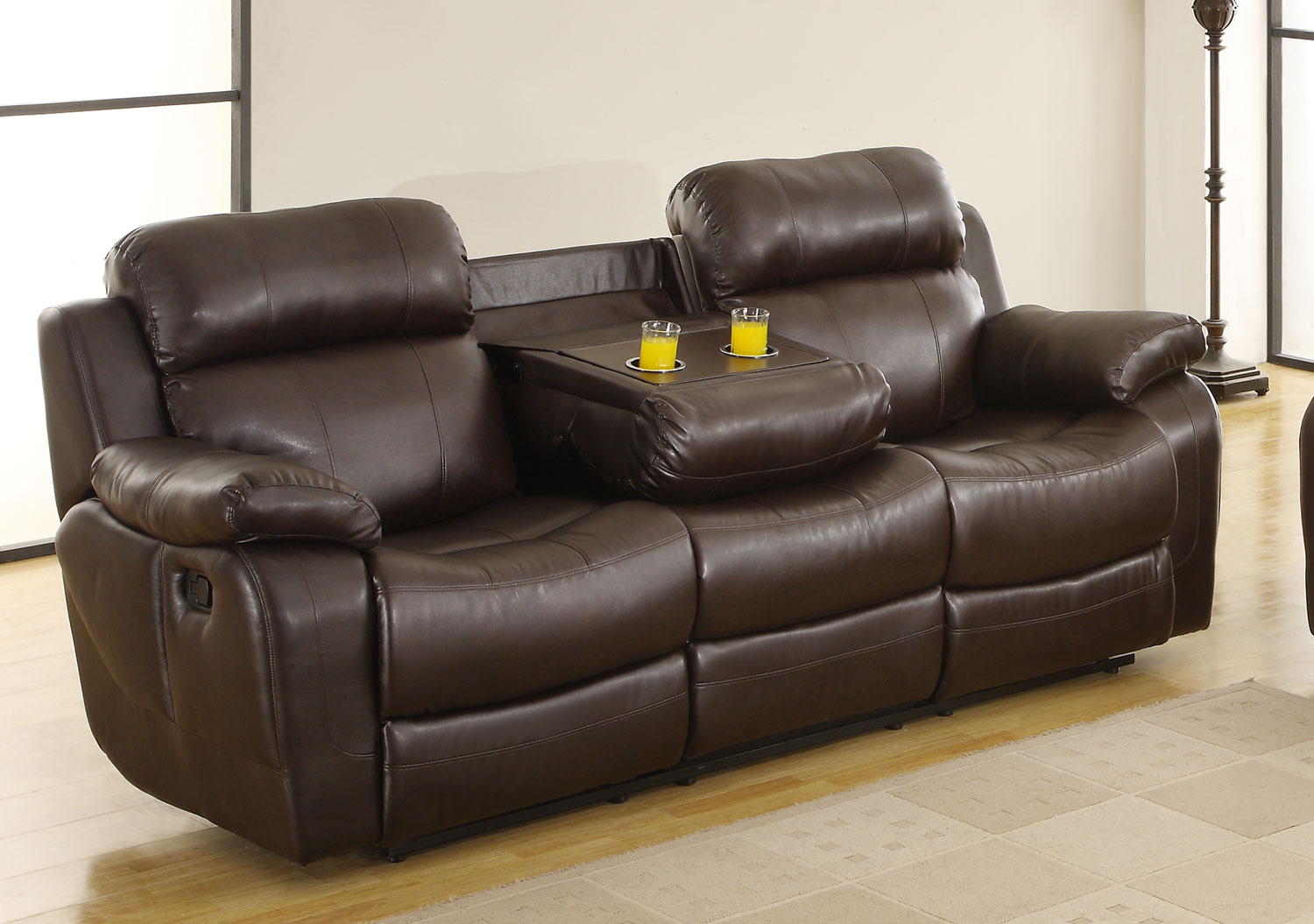 Homelegance Marille Sofa Recliner With Drop Cup Holder Dark Brown Bonded Leather Match