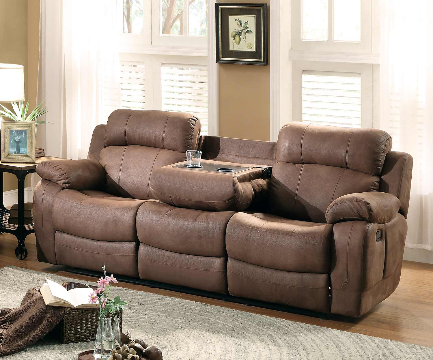 Homelegance Marille Double Reclining Sofa With Center Drop Down Cup Holders    Dark Brown