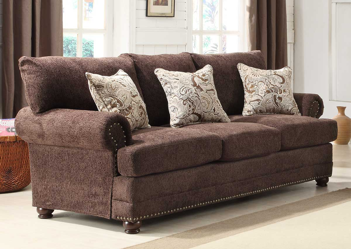 homelegance elena sofa chocolate chenille 9729 3. Black Bedroom Furniture Sets. Home Design Ideas