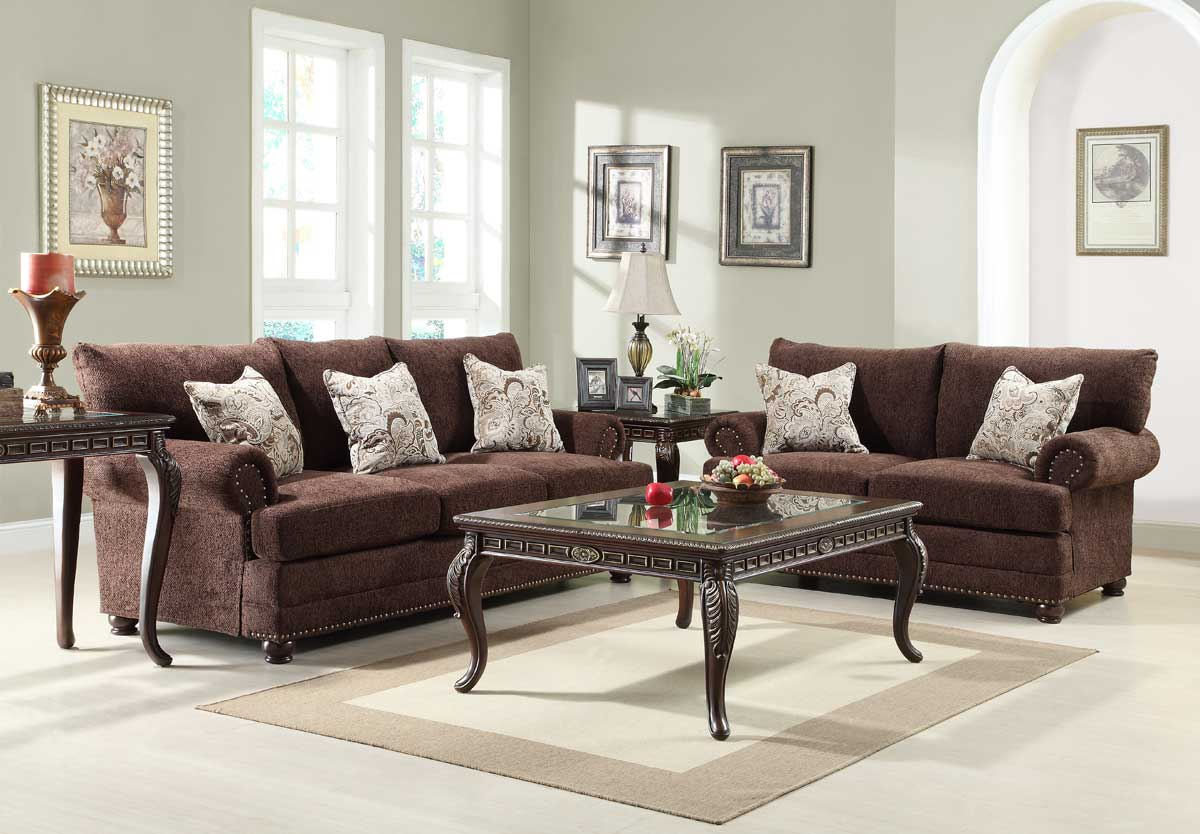 Homelegance Elena Sofa Set  Chocolate Chenille U97293