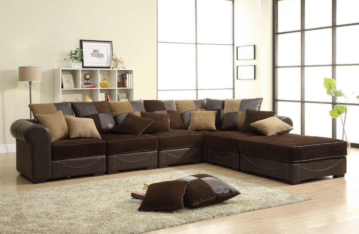 Homelegance Lamont Modular Sectional Sofa Set B   Chocolate Corduroy And  Dark Brown Bi Cast