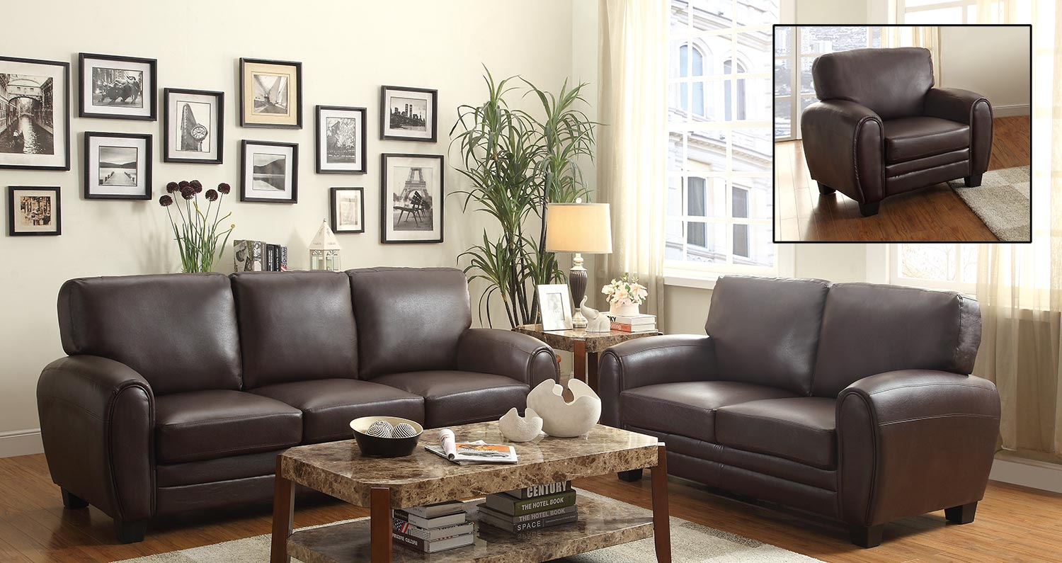 Homelegance Rubin Sofa Set - Dark Brown
