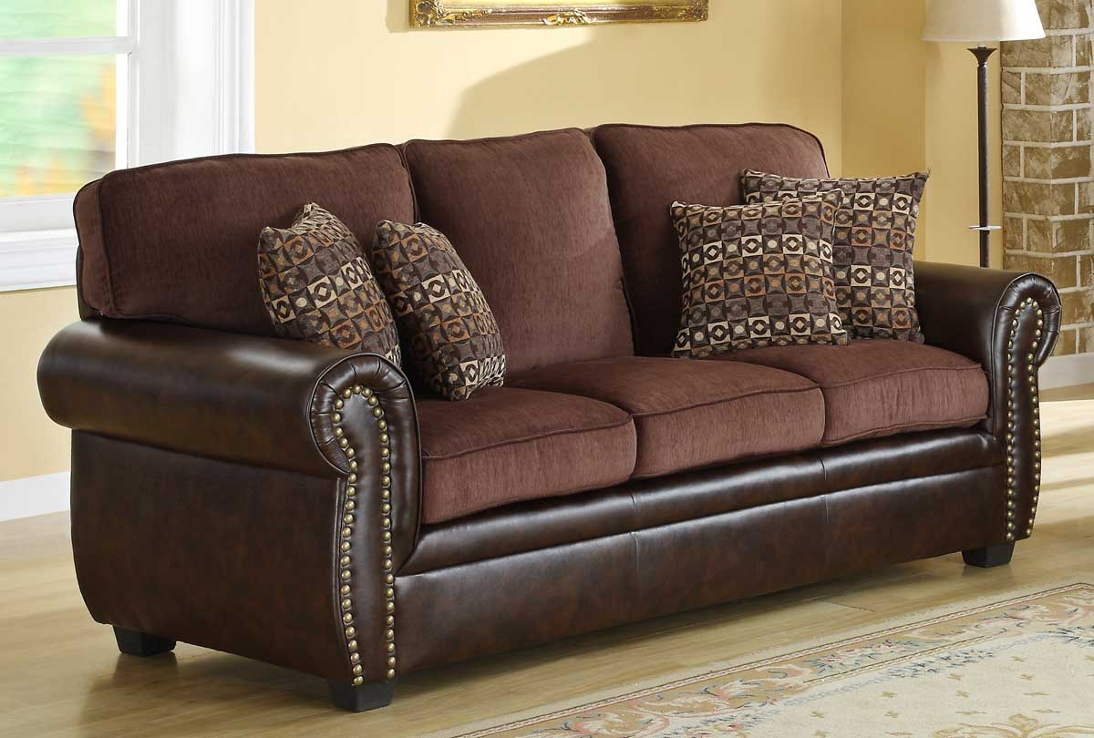 Homelegance Beckstead Sofa   Chocolate Chenille And Dark Brown PU