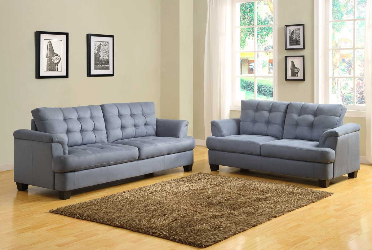 Homelegance st charles sofa set blue gray u9736 3 for Family room sofa sets