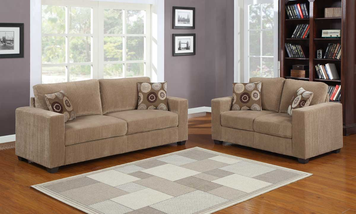 Homelegance Paramus Sofa Set Brown Corduroy