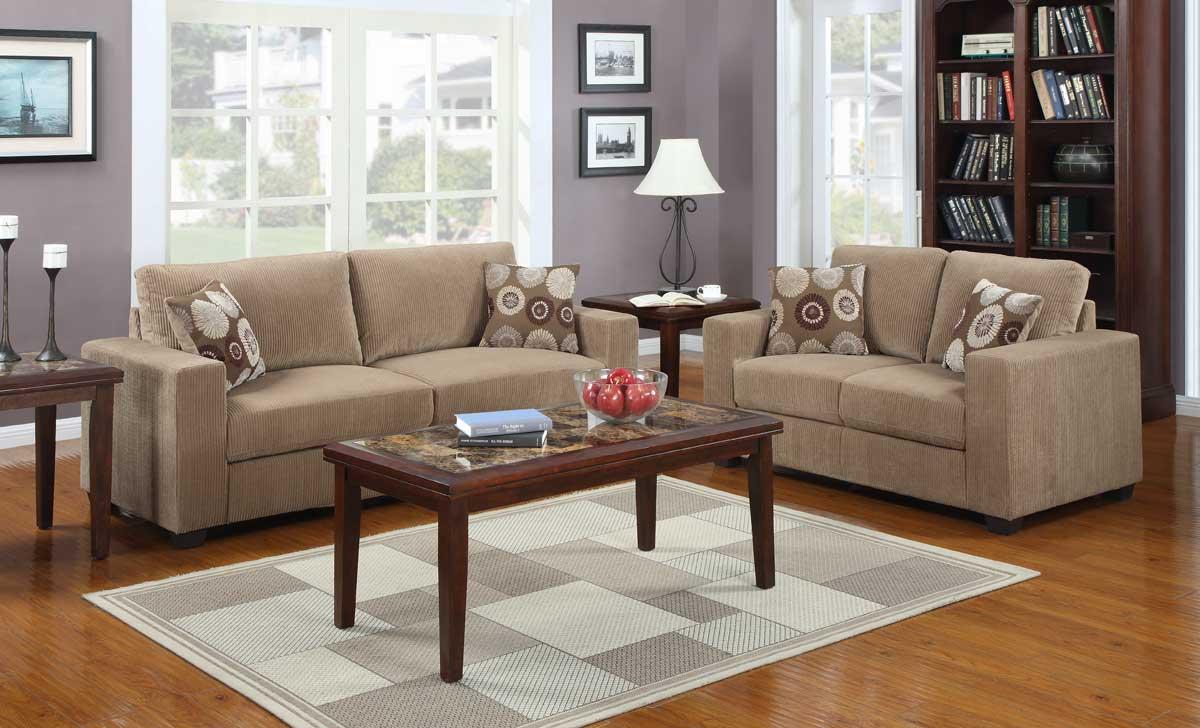 Homelegance Paramus Sofa Set - Brown Corduroy