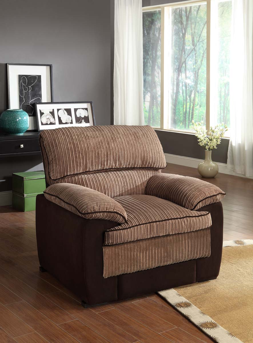 Homelegance McCollum Chair - Brown - Corduroy and Microfiber