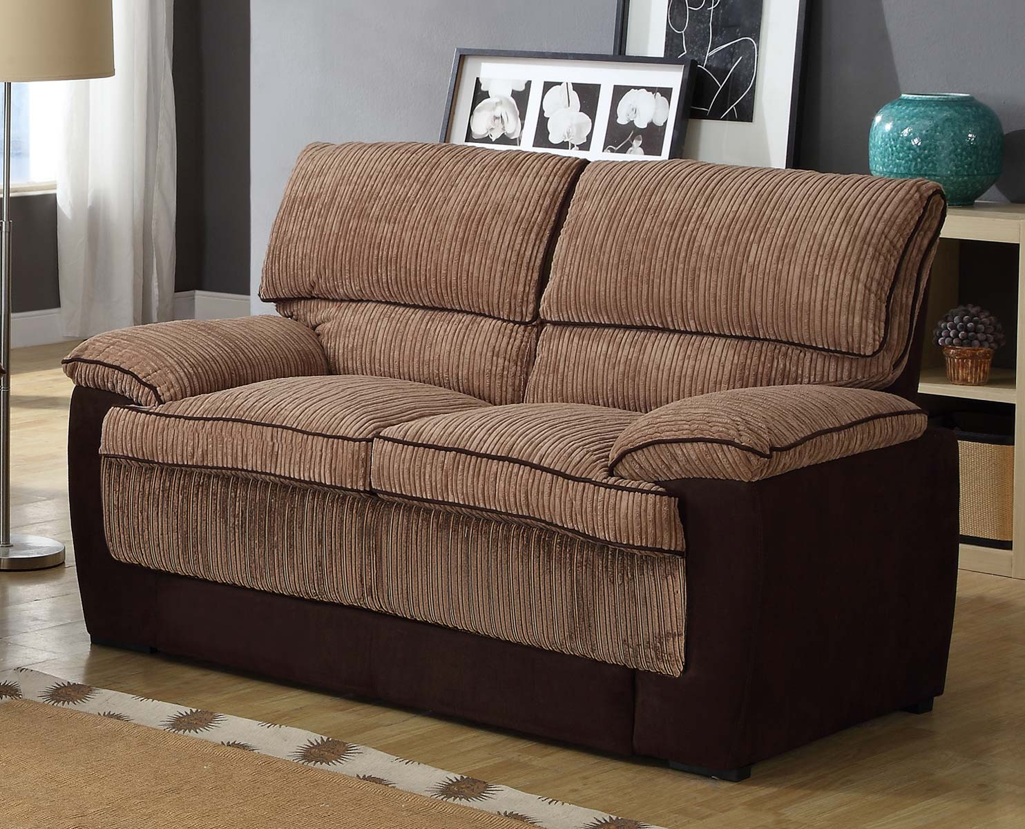 Homelegance McCollum Love Seat - Brown - Corduroy and Microfiber