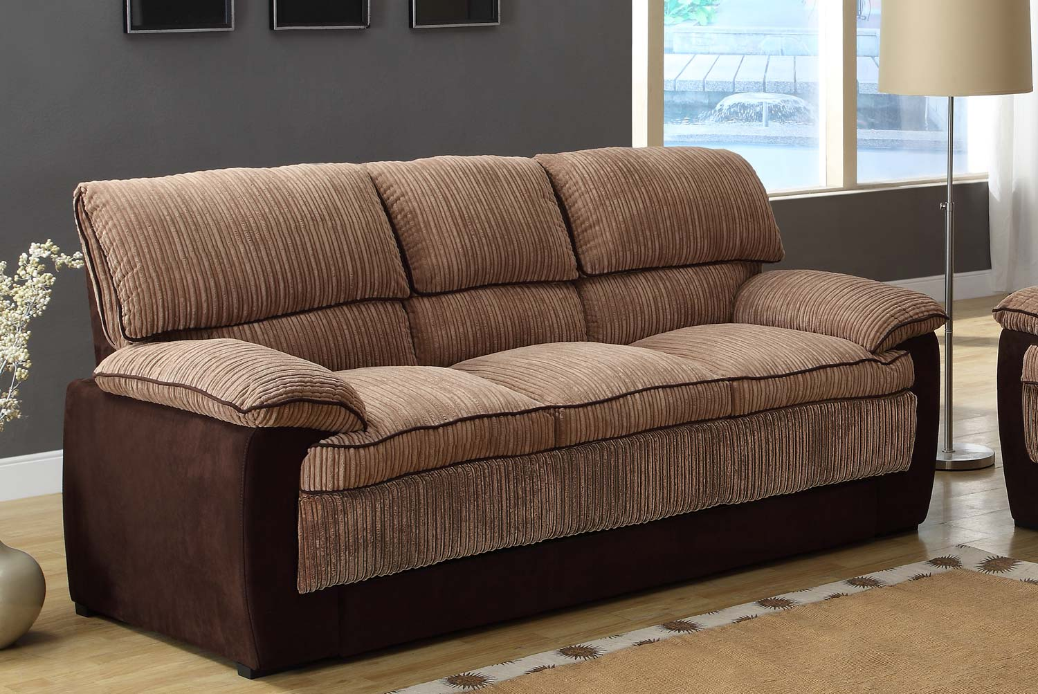 Attirant Homelegance McCollum Sofa   Brown   Corduroy And Microfiber