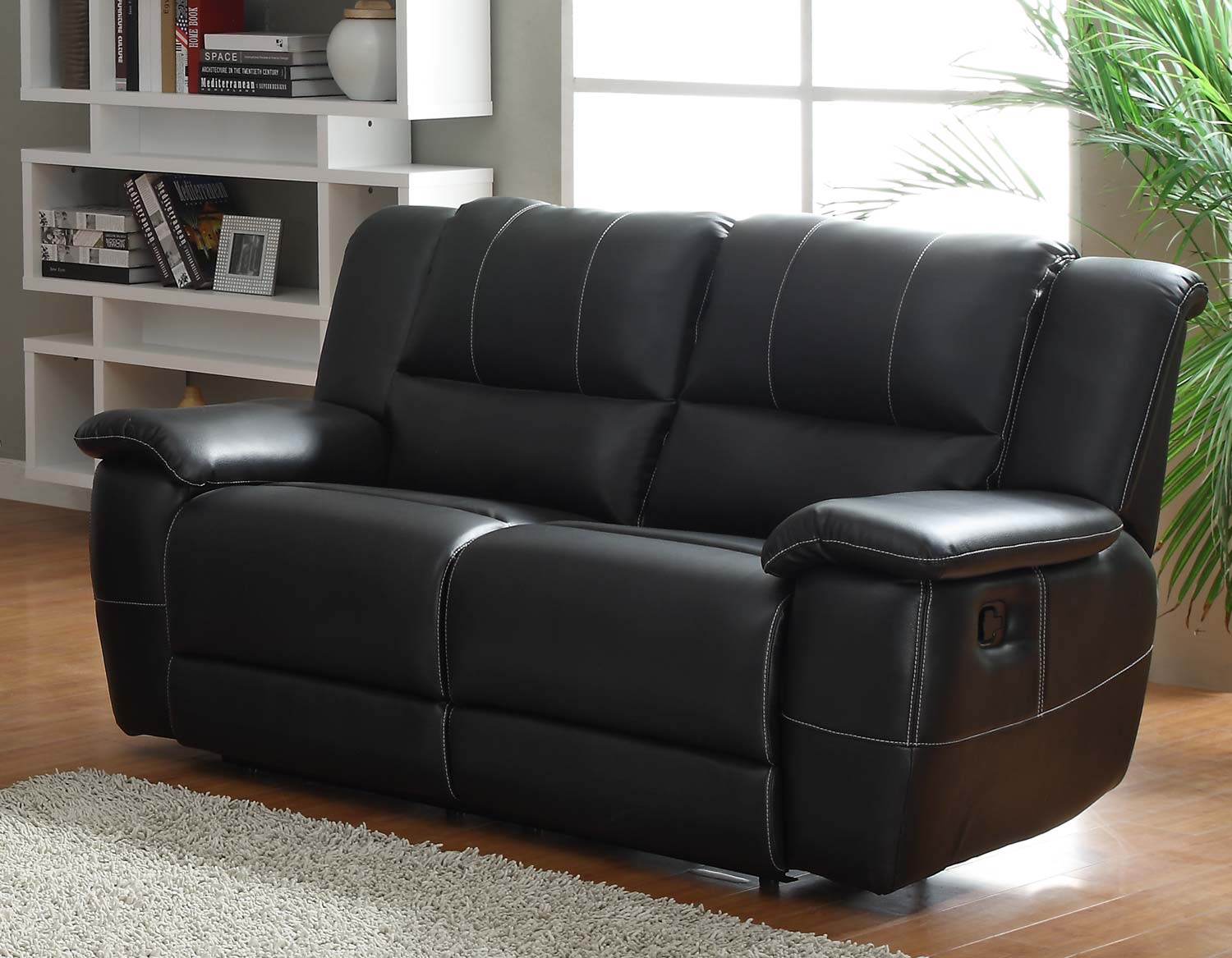 Delightful Homelegance Cantrell Love Seat Double Recliner   Black   Bonded Leather  Match