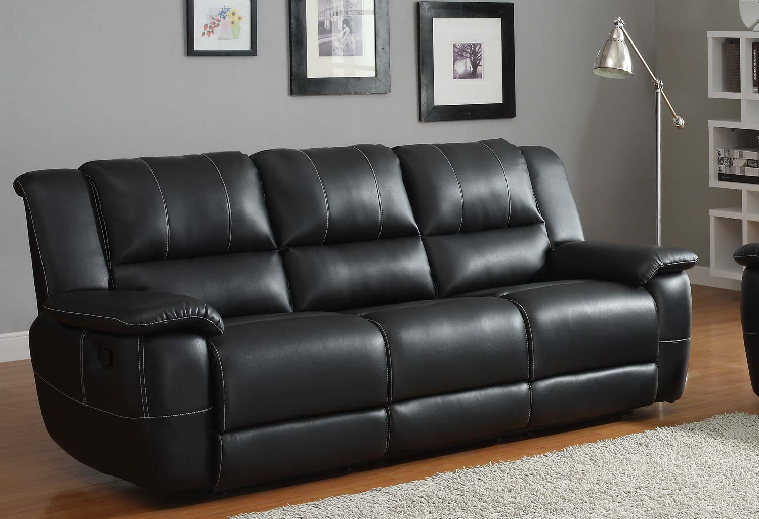 Homelegance cantrell reclining sofa set black bonded for Furniture leather sofa
