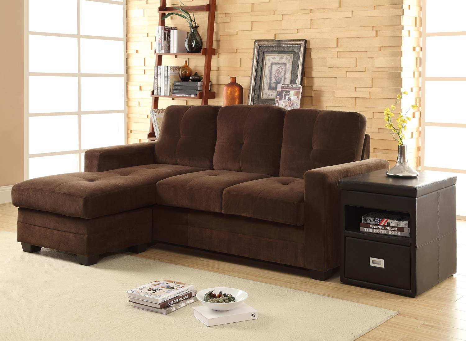 Homelegance Phelps Sectional Sofa - Coffee - Microfiber
