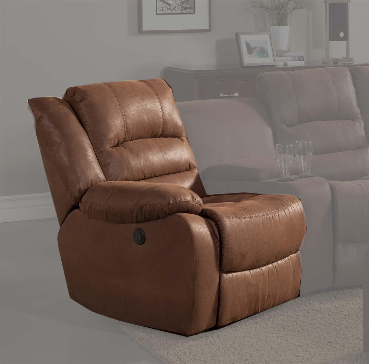 Homelegance Tucker LSF Power Recliner Chair - Brown - Bomber Jacket Microfiber