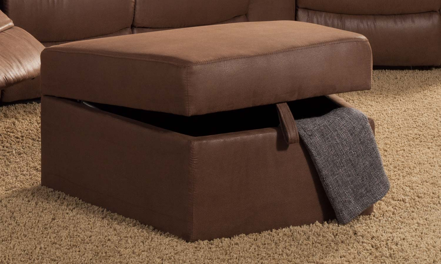 Homelegance Tucker Storage Ottoman - Brown? - Bomber Jacket Microfiber