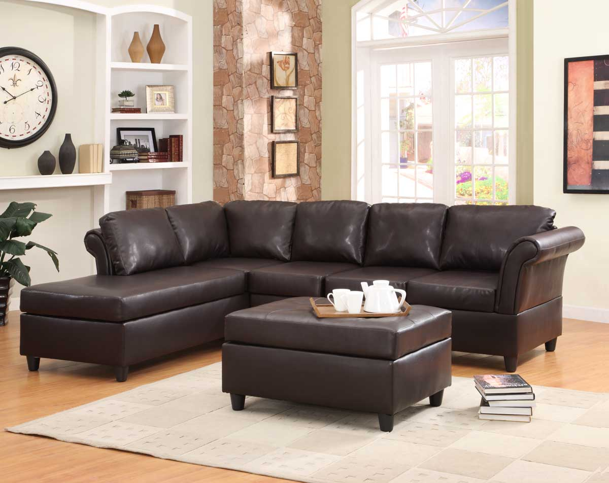 Homelegance levan sectional sofa set dark brown bi cast for Sectional sofa set up