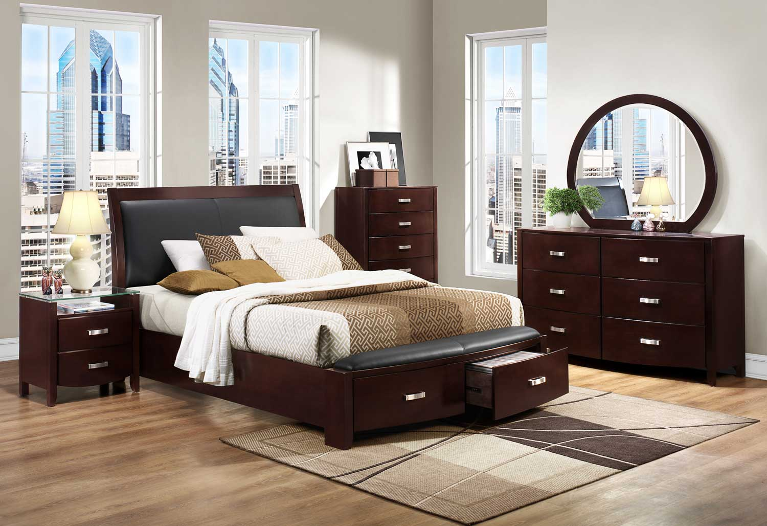 Bedroom Sets Espresso homelegance lyric platform bedroom set - dark espresso b1737nc-bed