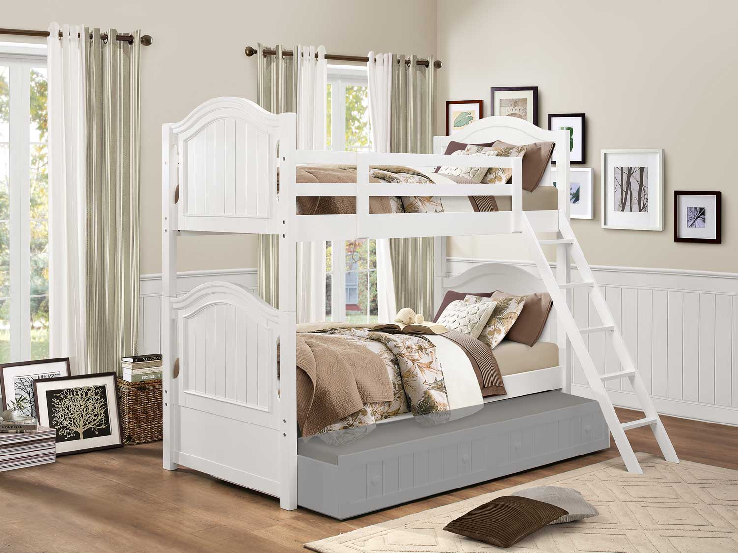 Homelegance Clementine Twin/Twin Bunk Bed - White