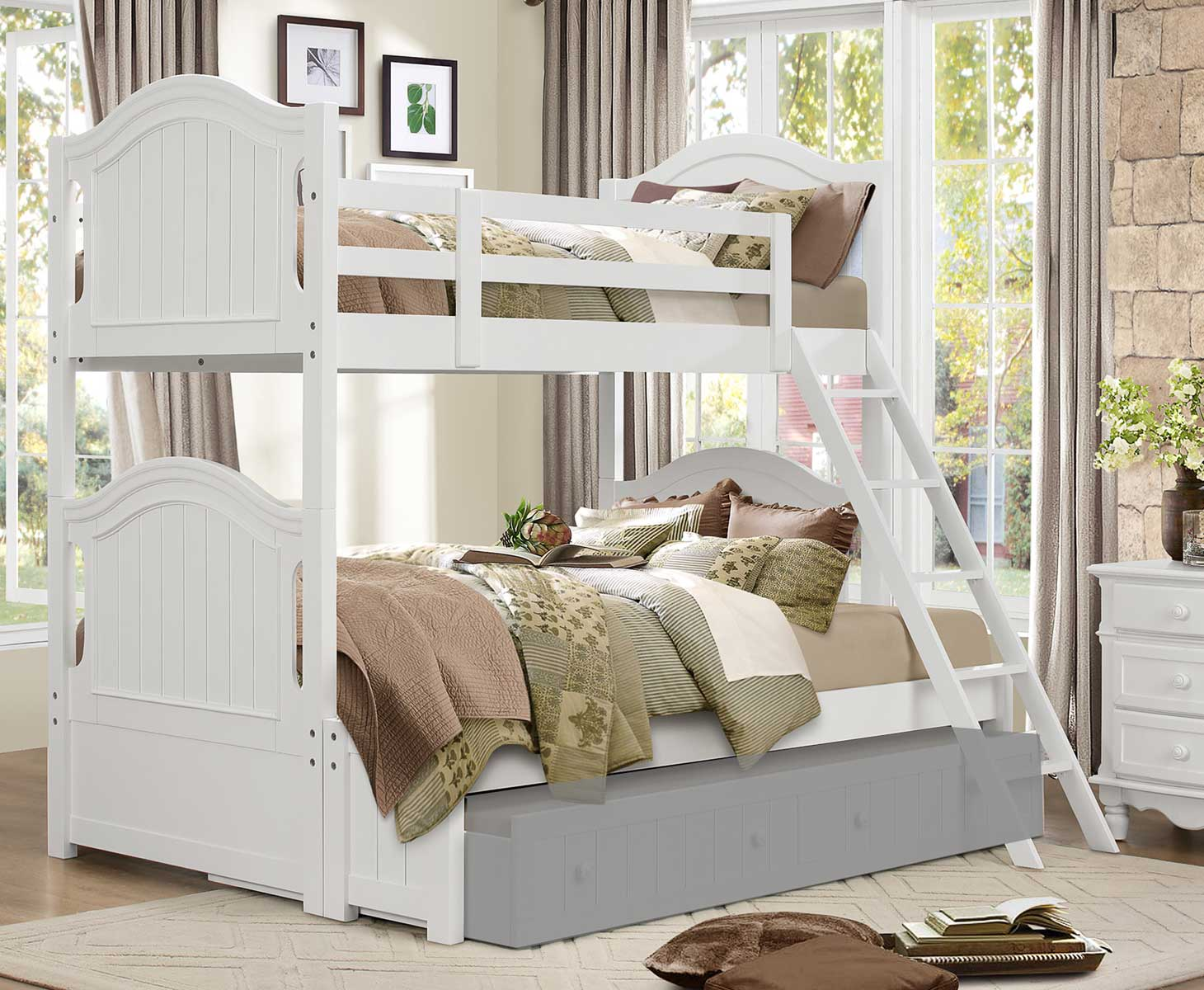 Homelegance Clementine Twin/Full Bunk Bed - White