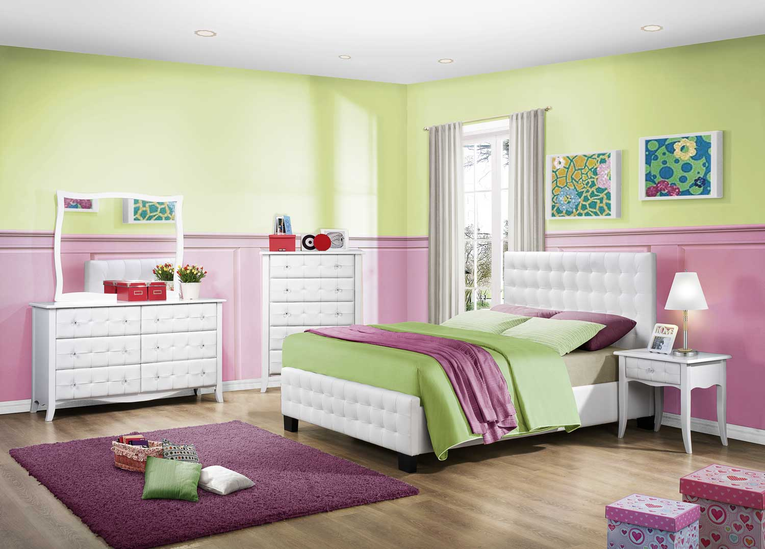 Homelegance Sparkle Upholstered Bedroom Set - White