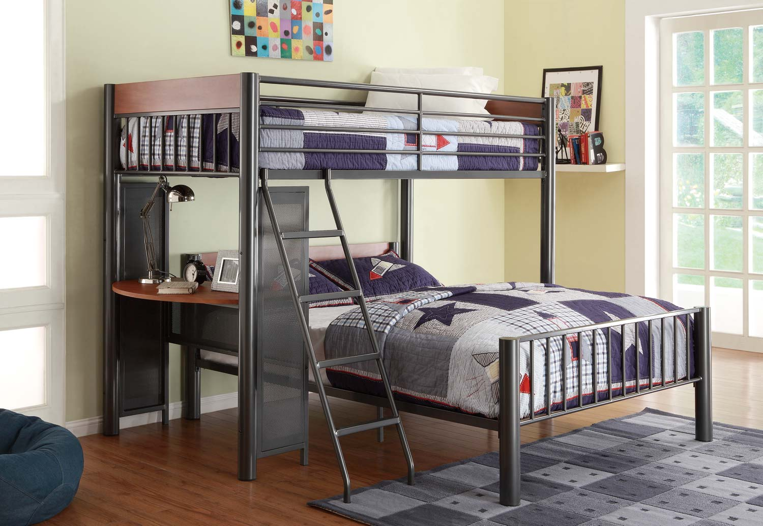 Homelegance Division Twin Loft Bed and Shelf - Light Graphite