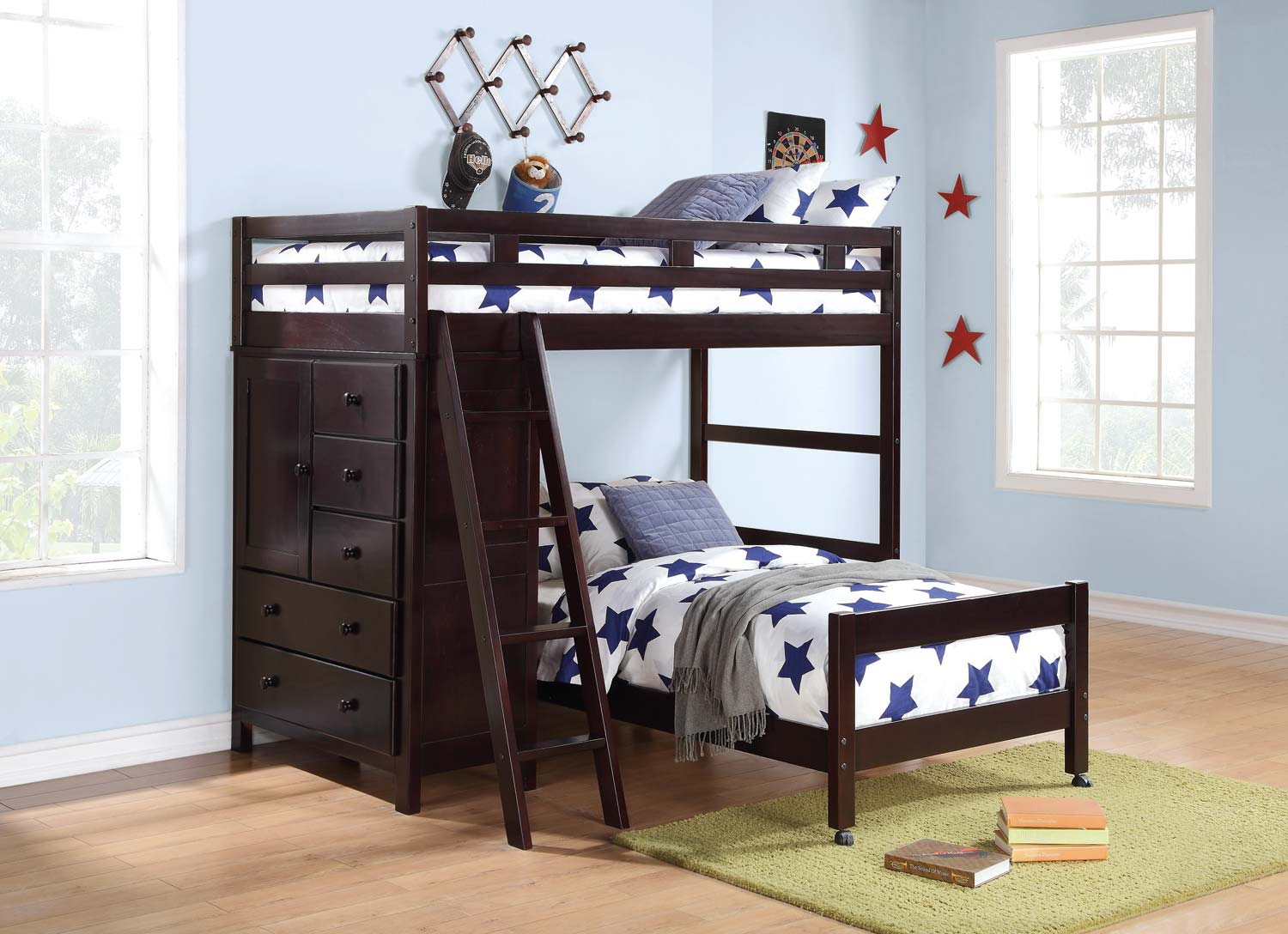 Homelegance Tops Twin/Twin Loft Bed with Storages - Dark Cherry