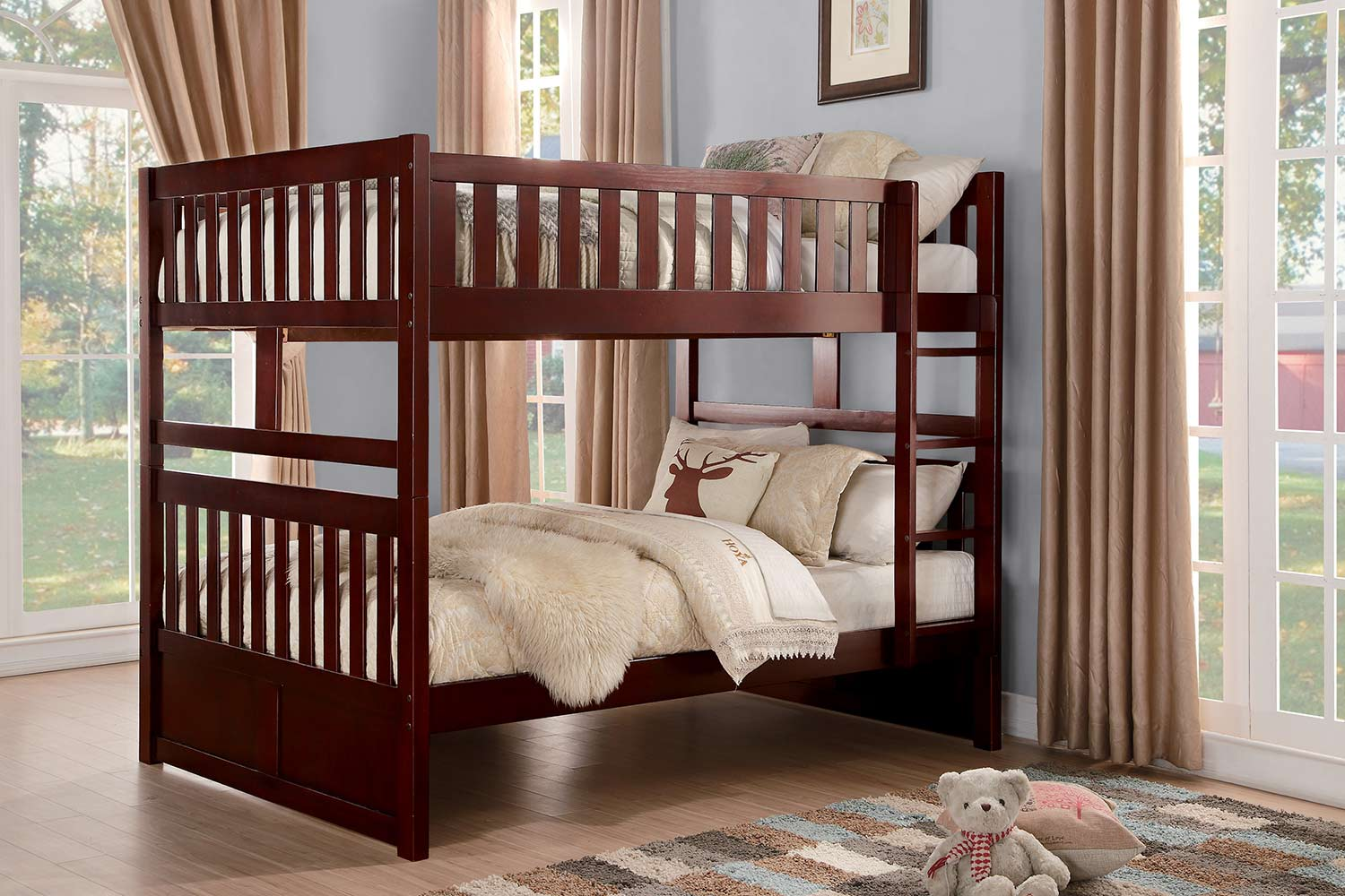 Homelegance Rowe Full over Full Bunk Bed - Dark Cherry