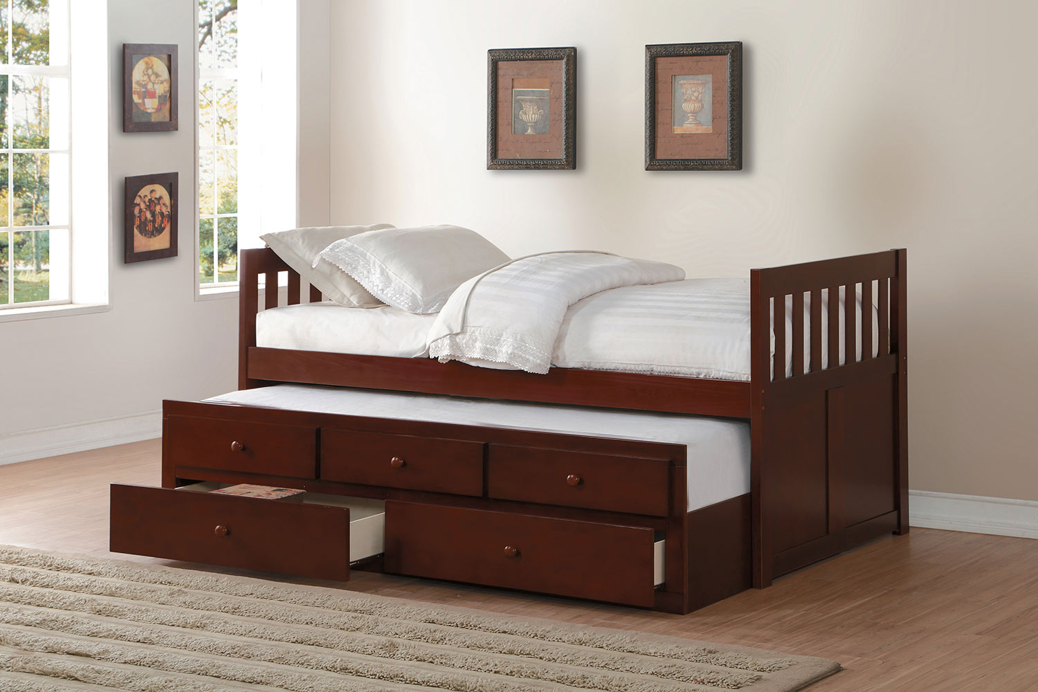 Homelegance Rowe Twin Bed with Trundle and Two Storage Drawers - Dark Cherry