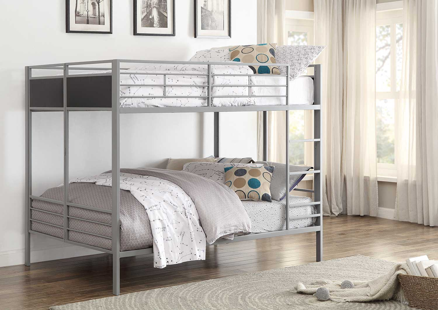 Homelegance Dex Full/Full Bunk Bed - Grey
